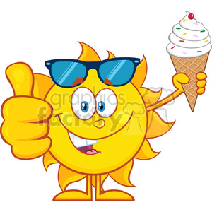 cute sun cartoon mascot character with sunglasses holding a ice cream showing thumb up vector illustration isolated on white background clipart. Royalty-free image # 399967