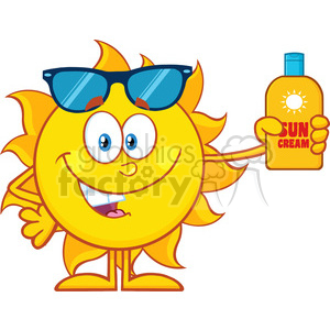 10149 cute sun cartoon mascot character with sunglasses holding a bottle of sun block cream vith text vector illustration isolated on white background clipart. Royalty-free image # 399987