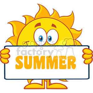 10114 cute sun cartoon mascot character holding a sign with text summer vector illustration isolated on white background clipart. Royalty-free image # 400027