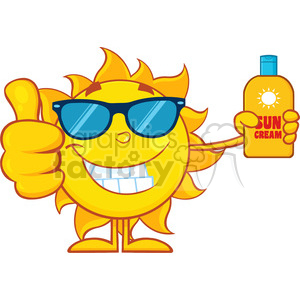 smiling summer sun cartoon mascot character holding a bottle of sun block cream showing thumb up vector illustration isolated on white background clipart. Commercial use image # 400037