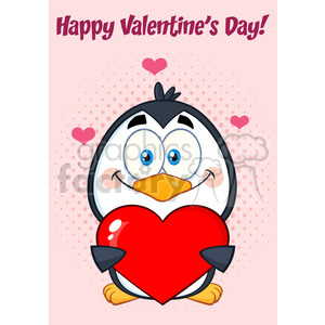 cute penguin cartoon character holding valentine love heart. vector illustration greeting card clipart. Royalty-free image # 400047