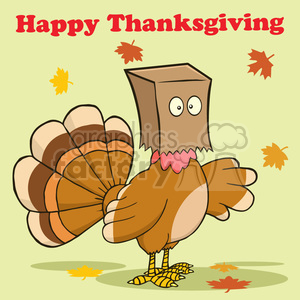 happy thanksgiving greeting with turkey bird hiding under a bag vector illustration with background and text clipart. Commercial use image # 400067