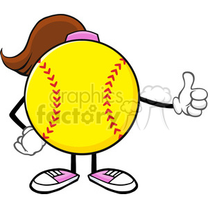 softball girl faceless cartoon mascot character giving a thumb up vector illustration isolated on white background clipart. Royalty-free image # 400087