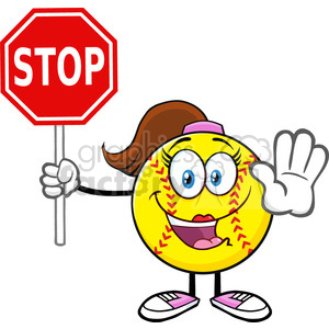 cute softball girl cartoon mascot character gesturing and holding a stop sign vector illustration isolated on white background clipart. Royalty-free image # 400097