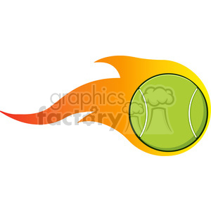 cartoon flaming tennis ball vector illustration isolated on white clipart. Commercial use image # 400107