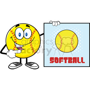 talking softball cartoon mascot character pointing to a sign with text softball vector illustration isolated on white background clipart. Commercial use image # 400117