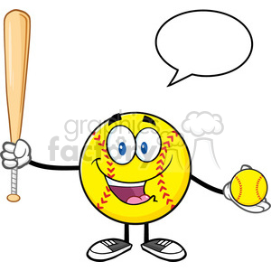 talking softball player cartoon character holding a bat and ball with speech bubble vector illustration isolated on white background clipart. Royalty-free image # 400127