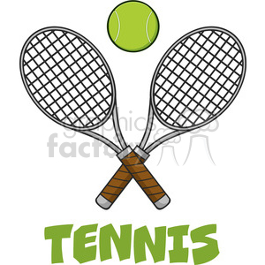crossed racket and tennis ball vector illustration isolated on white and text tennis clipart. Royalty-free image # 400147