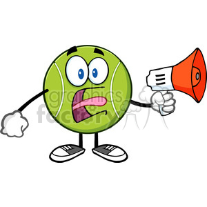 tennis ball cartoon mascot character an announcement into a megaphone vector illustration isolated on white clipart. Royalty-free image # 400157