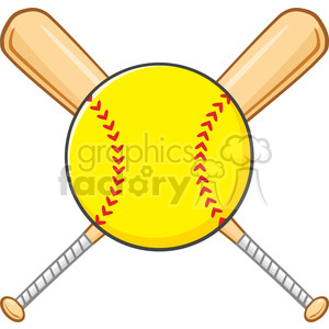 yellow softball over crossed bats logo design vector illustration isolated on white background clipart. Commercial use image # 400167