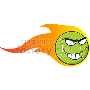 flaming mad tennis ball cartoon character vector illustration isolated on white clipart. Royalty-free image # 400177