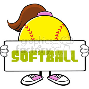 softball girl faceless cartoon mascot character holding a sign vector illustration with text softball isolated on white background clipart. Royalty-free image # 400187