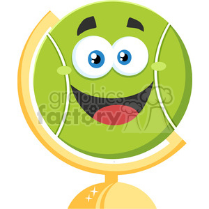 happy tennis ball cartoon character on desk globe vector illustration flat style isolated on white clipart. Royalty-free image # 400197