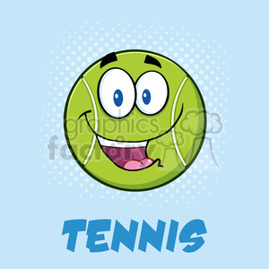 smiling tennis ball cartoon character vector illustration poster with text and background clipart. Commercial use image # 400217