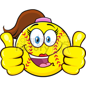 cute softball girl cartoon character giving a double thumbs up vector illustration isolated on white background clipart. Royalty-free image # 400227