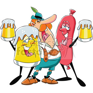 oktoberfest beer man and sausage characters clipart. Commercial use image # 400302