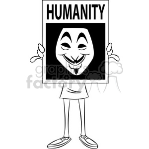 black and white vector clipart image of anonymous person holding a sign clipart. Royalty-free image # 400312