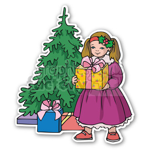 girl with christmas gift sticker clipart. Royalty-free image # 400350