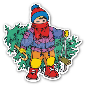 boy with christmas tree sticker clipart. Commercial use image # 400360