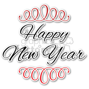 happy new year typography design sticker clipart. Royalty-free image # 400370