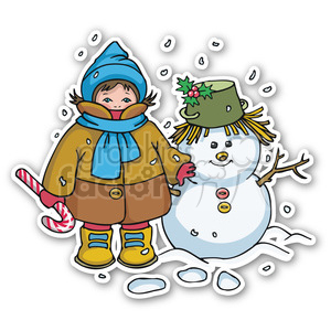 christmas boy with snowman sticker clipart. Commercial use image # 400405