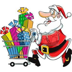 santa with shopping cart full of presents clipart. Royalty-free image # 400421