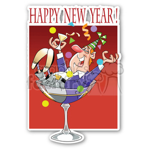 happy new year drunk guy sticker clipart. Royalty-free image # 400431