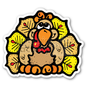 thanksgiving turkey sticker with fall colors clipart. Royalty-free image # 400480