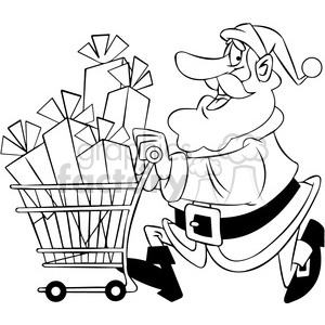 black and white santa with shopping cart full of presents clipart. Commercial use image # 400390