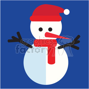 snowman on blue square icon vector art clipart. Royalty-free image # 400504