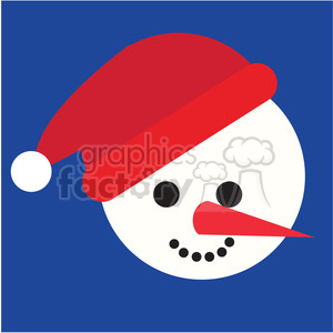snowman head with santa hat on blue square icon vector art clipart. Royalty-free image # 400514