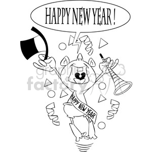 black and white happy new year baby new year vector art clipart. Commercial use image # 400544
