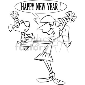 black and white vector art of girl telling her pet happy new year cartoon clipart. Commercial use image # 400554