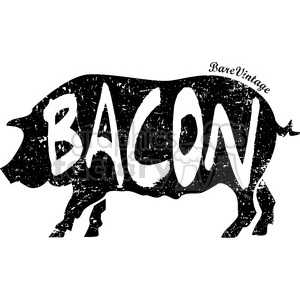 distressed pig bacon vector art design clipart. Commercial use image # 400574