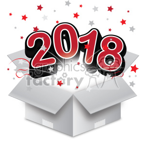 red 2018 new year exploding from a box vector art clipart. Royalty-free image # 400594