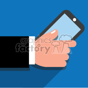 hand holding a cell phone flat design vector art blue background clipart. Royalty-free image # 400624
