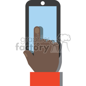 african american hand holding device no background flat design vector art clipart. Royalty-free image # 400634