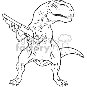 illustration outline black+white trex warrior gamer gun dino dinosaur