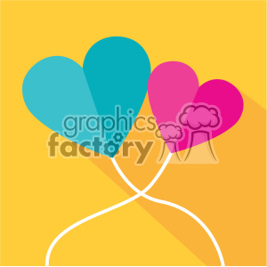 two heart balloons flat design vector icon art clipart. Commercial use image # 402293