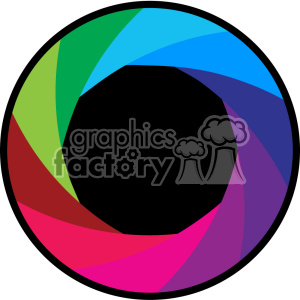 vector camera shutter colorful flat design aperture icon clipart. Royalty-free image # 402361