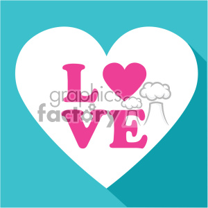 heart with love vector art flat design clipart. Commercial use image # 402381