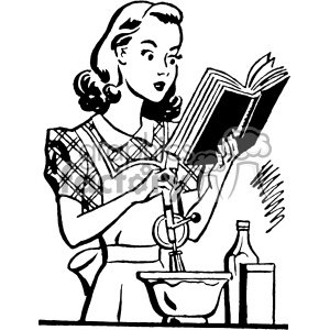 vintage women cooking from a cookbook vector vintage 1900 vector art GF clipart. Commercial use image # 402521