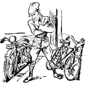 bike or motorcycle  vintage 1900 vector art GF clipart. Royalty-free image # 402541