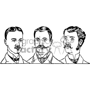 Mens hair styles 1900s vintage vector art GF clipart. Royalty-free image # 402546