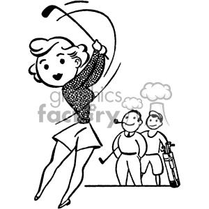 vintage female golfer vector vintage 1900 vector art GF clipart. Commercial use image # 402576