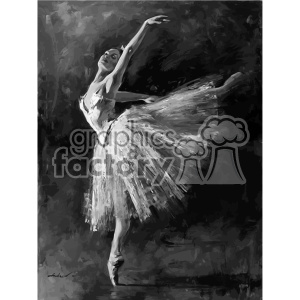 black and white ballet dancer edgar degas vintage 1900 vector art GF clipart. Royalty-free image # 402661