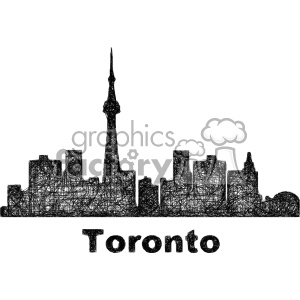 black and white city skyline vector clipart CAN Toronto clipart. Commercial use image # 402671