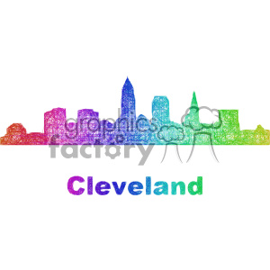 city skyline vector clipart USA Cleveland clipart. Commercial use image # 402681