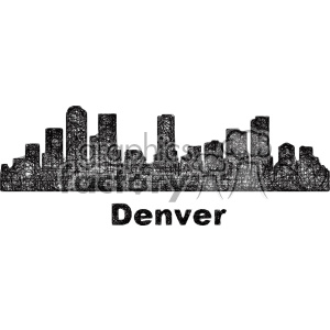 black and white city skyline vector clipart USA Denver clipart. Commercial use image # 402701