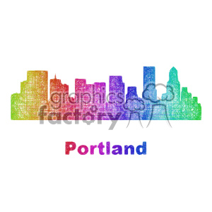 city skyline vector clipart USA Portland clipart. Commercial use image # 402711